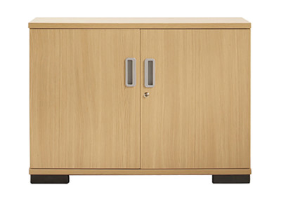 Double door lockable storage unit with aluminium handles - 730mm high