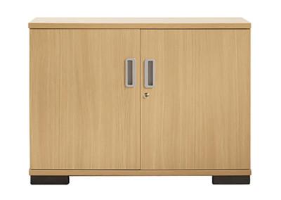 Double door lockable storage unit with aluminium handles - 730mm high
