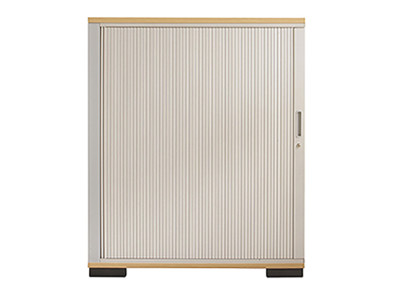 Side opening aluminium tambour storage unit - 1200mm high