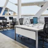 Gresham Mesa Infill Panel Desks & Platinum Mesh Chairs