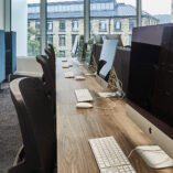 Gresham Mesa Plus Desks with Platinum Mesh Task Chairs